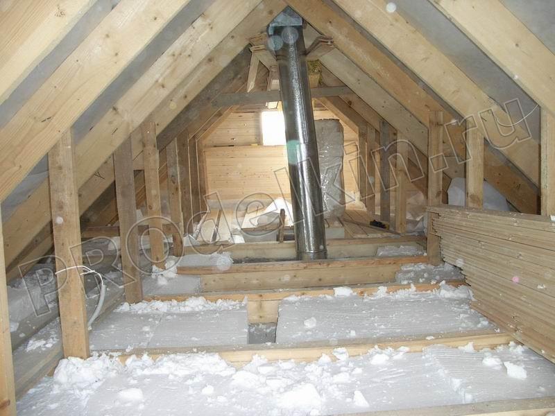 Утепление перекрытия холодного чердака частного дома минвато.